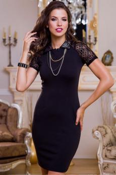 Маленькое черное платье с кружевными рукавами Angela Ricci