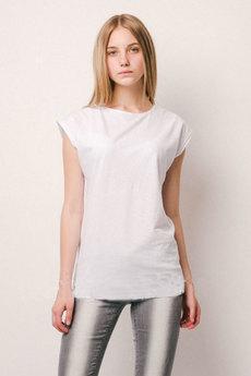 Белая удлиненная футболка из хлопка KLERY