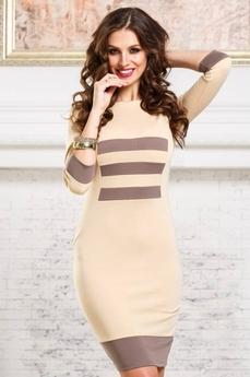 Платье футляр бежевого цвета Angela Ricci