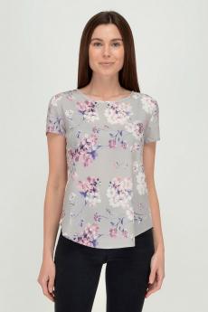 Серая блузка с цветами Viserdi